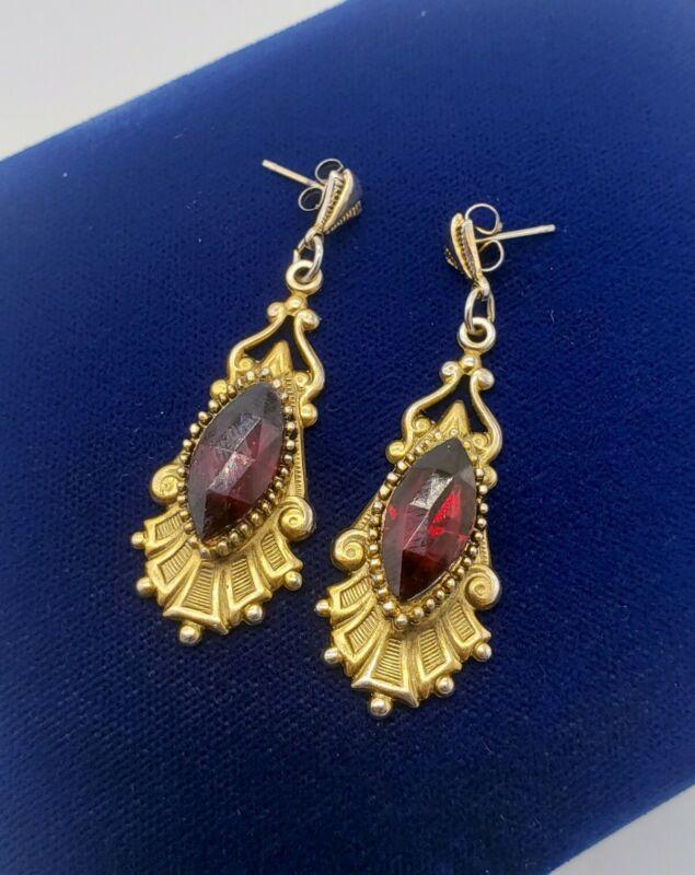 Vintage Victorian Revival Large Red Marquise Rhinestone Pierced Drop Earrings