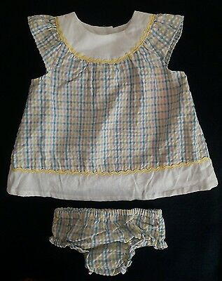 BON BEBE $30 NEW Embroidered Dress Matching Bloomers Infant Girls 3-6 months QCO