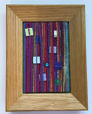 "8x6"" FRAMED MIXED MEDIA COLOURFUL MOSAIC ORIGINAL ARTWORK"