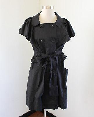 RYU Womens Black Short Sleeve Tie Belt Cotton Jacket Car Coat Size S Cotton Short Sleeve Coat