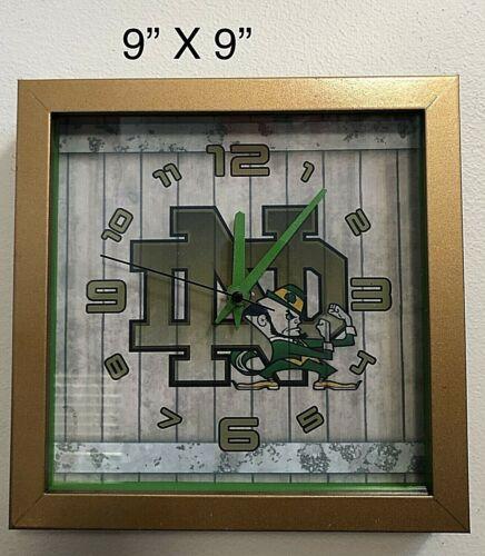 "Notre Dame Fighting Irish 9"" X 9"" X 1 1/4"" thick Shadow Box Clock"