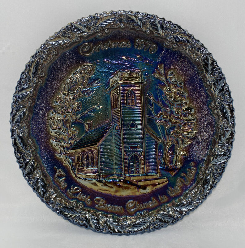 Fenton 1970 Carnival Glass Christmas Plate #1 The Little Brown Church In Vale