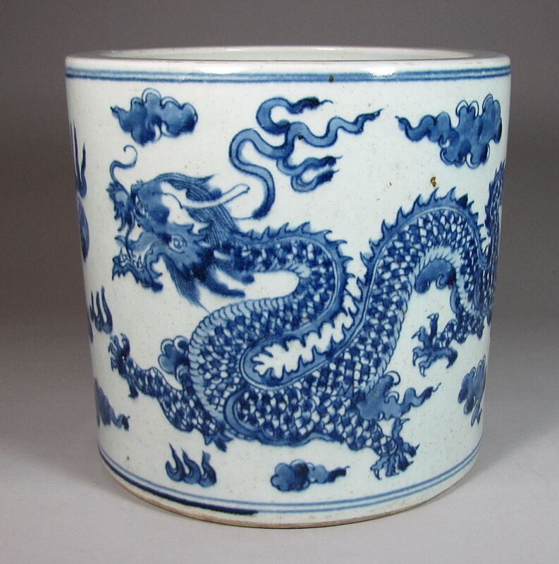 A Large, Heavy and Fine Chinese Blue/White Dragon Painted Brush Pot-19th C.: