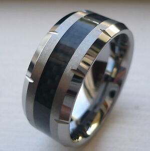 10MM MENS TUNGSTEN CARBIDE WEDDING BAND RING With BLACK CARBON FIBER SIZE 8 15