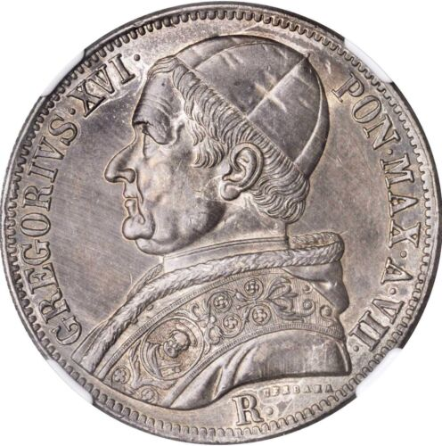 ITALY PAPAL STATES 1837 SCUDO SILVER COIN ALMOST UNCIRCULATED CERTIFIED NGC AU58