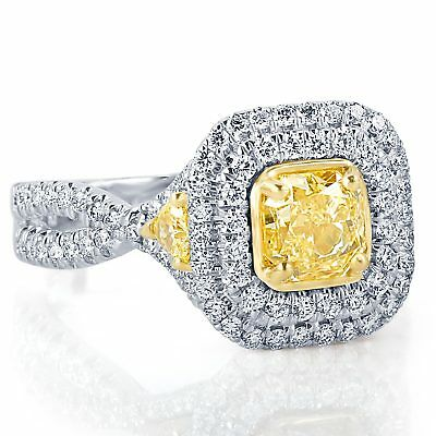 GIA Certified 1.95Ct Fancy Light Yellow VS1 Radiant Diamond Engagement Ring 18K