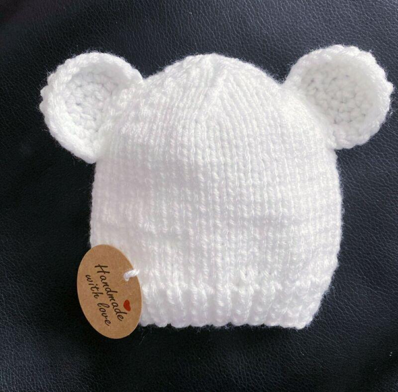 Newborn Knitted Baby Hat. Teddy Bear Hat