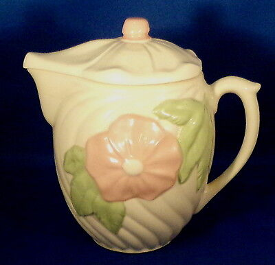 USA Marked White Pottery Batter Pitcher & Lid Pink Flower Front Nice Condition