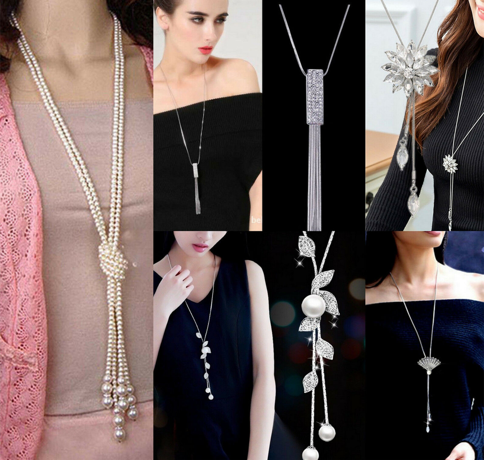 Jewellery - Fashion Women Girls MultiLayer Long Pearl Necklace Pendant Sweater Chain Jewelry