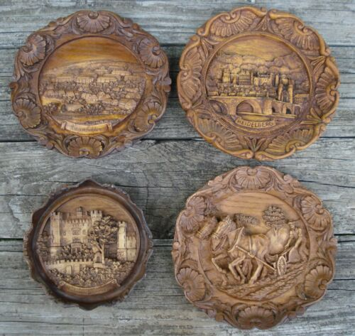 Vtg Lot of 4 Hand Carved Wood Resin 3D German Wall Plates Decor