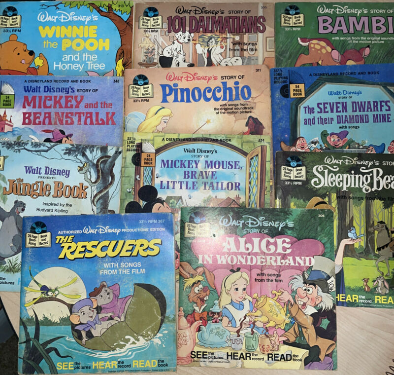 11 Walt Disney Read Along Book & Record Album Bambi 101 Mickey Sleeping Jungle
