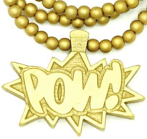 POW Chain New Natural Good Wood Style Pendant And 36