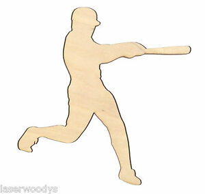 Baseball-Player-Unfinished-Flat-Wood-Shapes-Cut-Outs-HR5201-Variety-Sizes