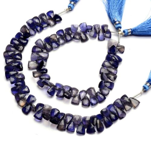 """Natural Gem Iolite 9x7mm Size Faceted Pyramid Beads 9"""" Water Sapphire"""