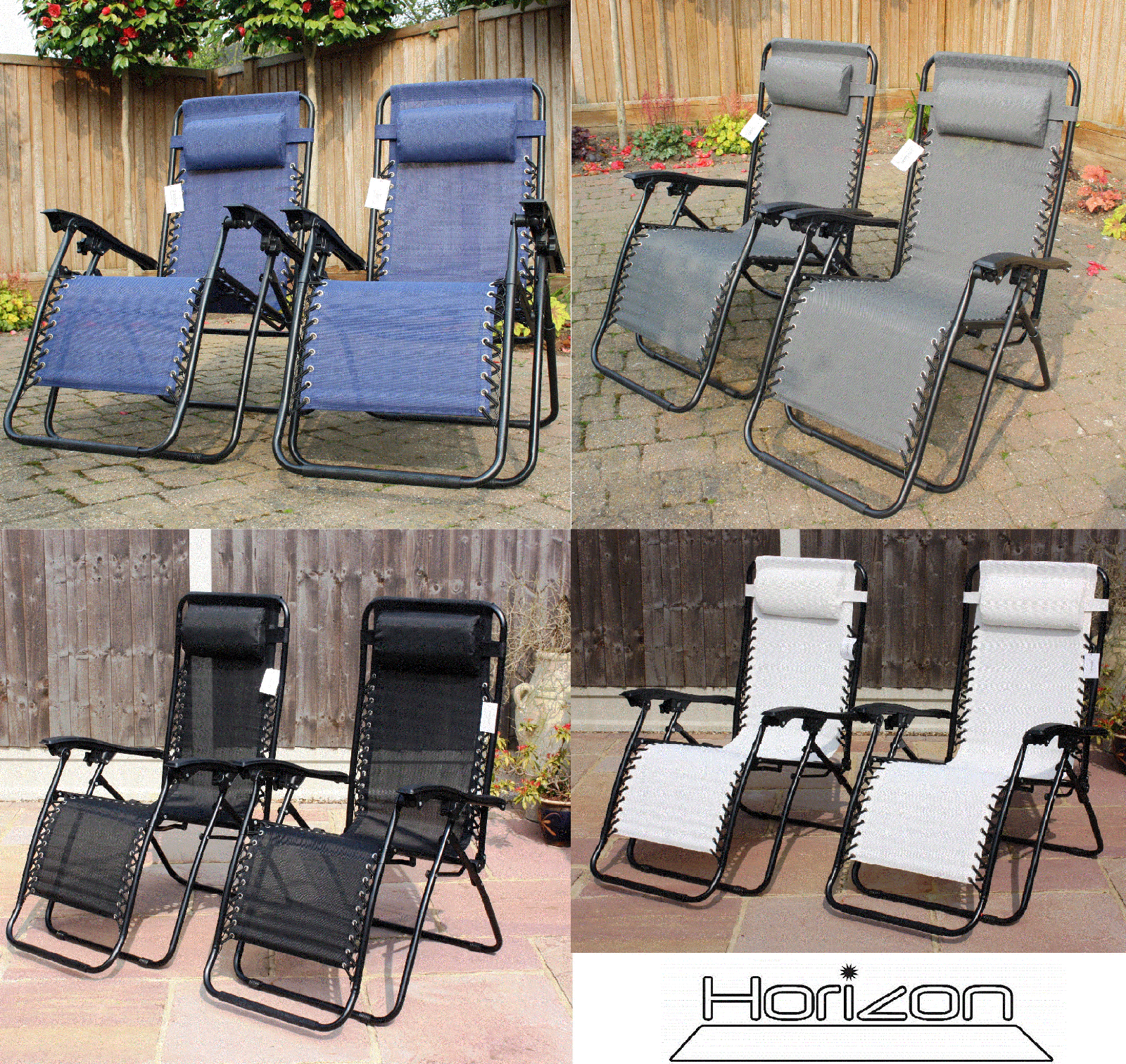 garden chairs - SET OF 2 RECLINING SUN LOUNGERS GRAVITY FOLDING GARDEN CHAIRS OR SPARE PARTS