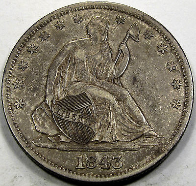 Click now to see the BUY IT NOW Price! 1843 O SEATED LIBERTY HALF DOLLAR CHOICE AUSO NICE & ORIGINAL SUPERB!!