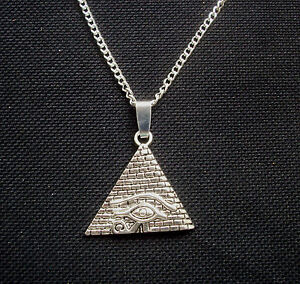 Egyptian Eye of Horus Pyramid Antiqued Silver Tone Pendant Necklace