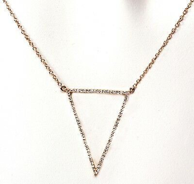 Diamond Triangle Necklace - 14k Yellow or Rose Gold Triangle Necklace with Diamond ( Dia.  0.21cts.)