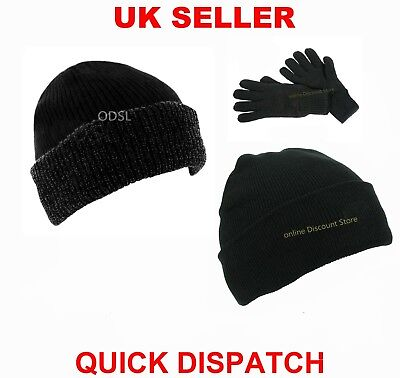 MENS WOMENS THERMAL LINED INSULATED WINTER SKI BEANIE WOOLY CAP RIBBED KNIT - Insulated Lined Cap