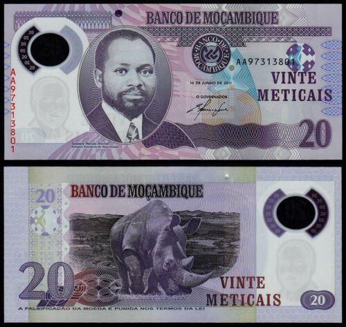 MOZAMBIQUE 20 METICAIS (P149) 2011 POLYMER UNC