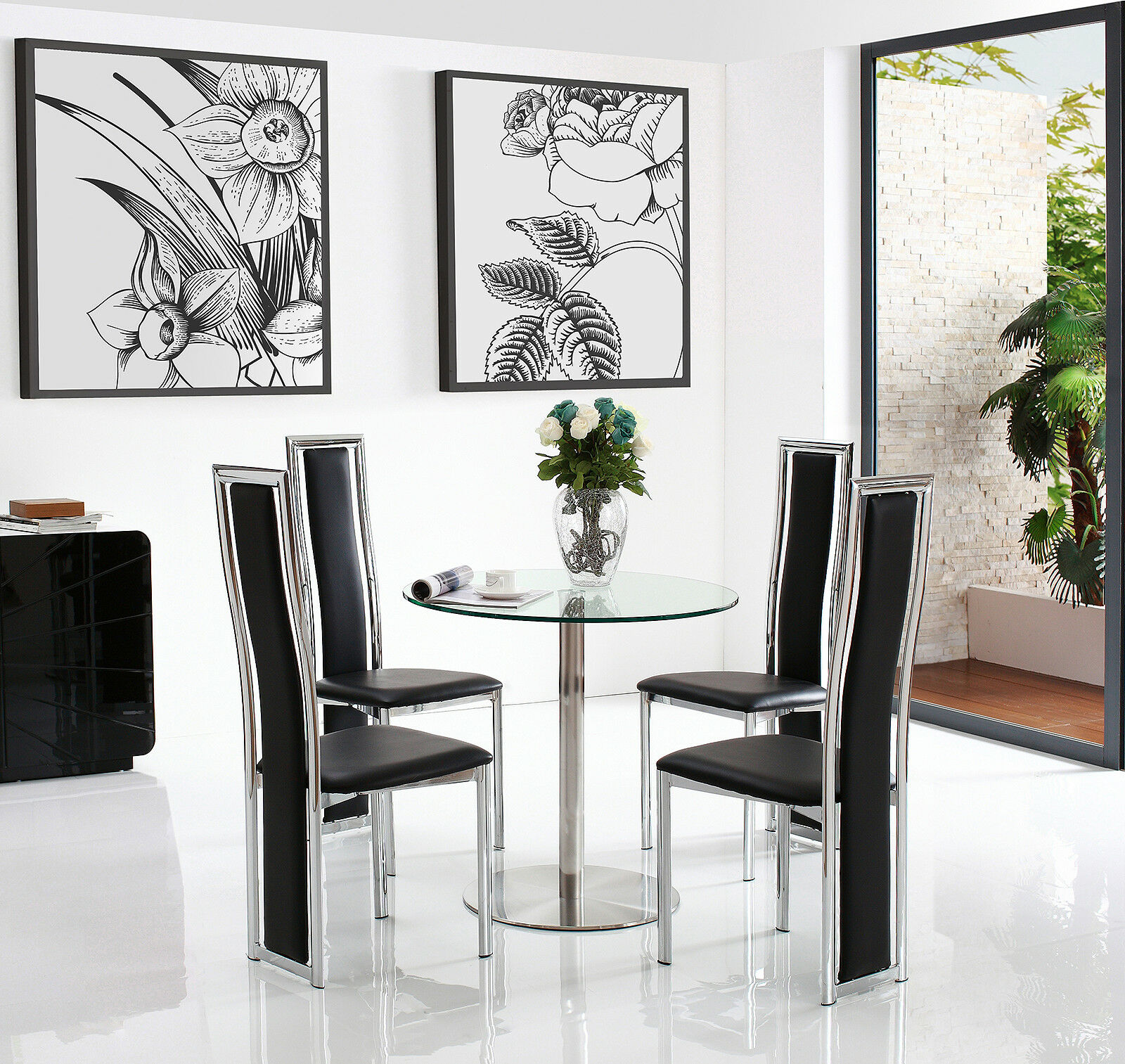 Target 80 Cm Round Small Glass Dining Table With 2 Or 4 Elsa Leather Chairs Ebay