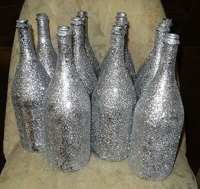 Silver Glitter Champagne Large Bottles Wedding New Years Table Decor 10Pcs Avail