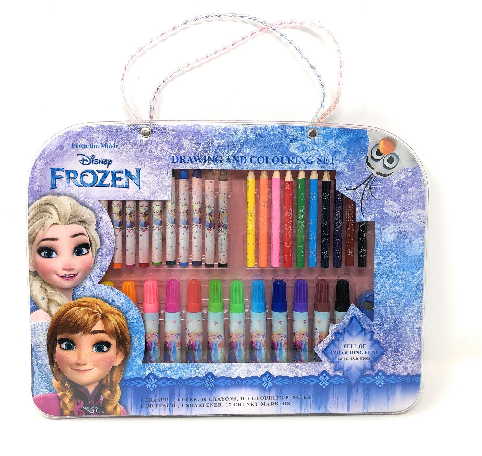 Disney Frozen Knetset Malset Zeichenset Stifte Kinder Bastel Knete Dough Mal Set