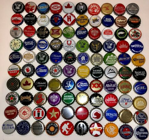 100 MIXED DIFFERENT -  UNBENT CRAFT, MICRO, DOMESTIC, IMPORT  BEER BOTTLE CAPS