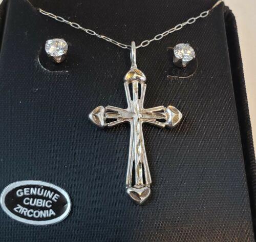 "Estate Vintage Sterling Silver ENGRAVED CROSS19"" Necklace & Genuine CZ Earrings"