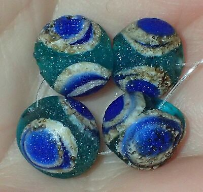 4 Antique protection from Devil's eye Islamic Glass Beads, 9-9.5mm#S2383