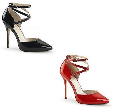Pleaser 12.7cm Stiletto High Heel Knöchelriemen Schuhe Amuse 25 Größen 3-13 Neu