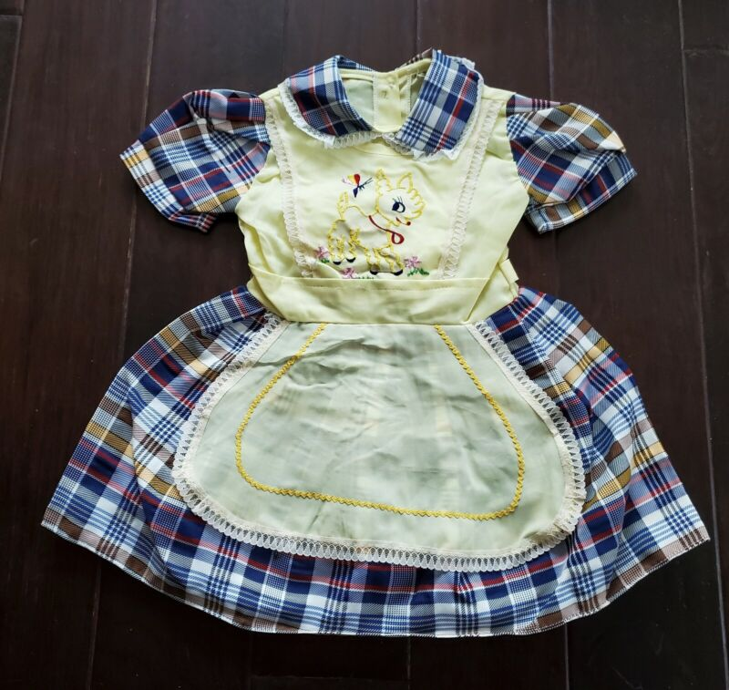 Vtg 70s Pinafore Apron Embroidered Bambi Plaid Lace Girls Toddler Dress NOS