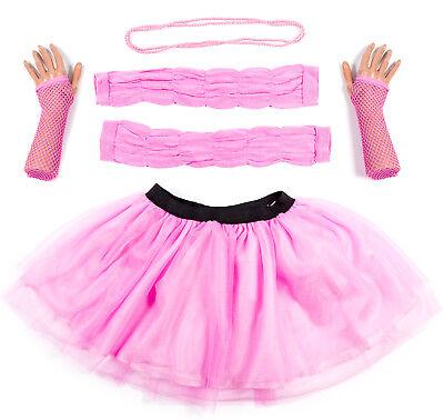 Neon Pink Leg Warmers (Hot Pink Neon UV Tutu Set Skirt Gloves Leg Warmers Necklace Womens Fancy)
