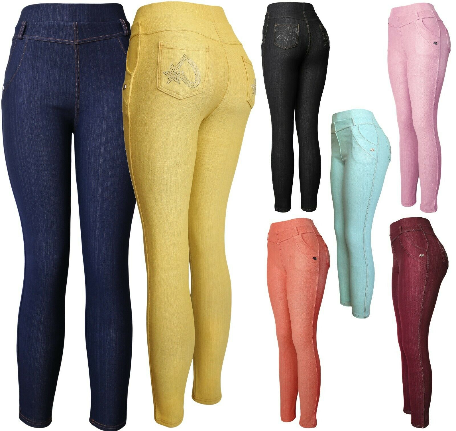 Women's Pull On Stretch Jeggings Pants with Sparkle Clothing, Shoes & Accessories