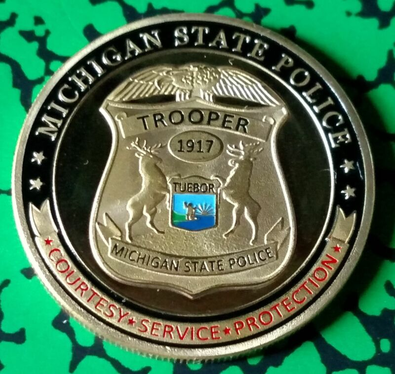 MICHIGAN STATE TROOPER POLICE DEPARTMENT #1278 COLORIZED ART ROUND