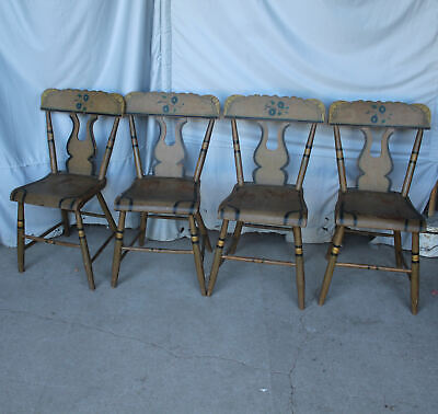Antique Set of 4 Matching Chairs -painted Stenciled – plank seat – lyre back ()