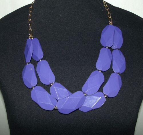 Vintage Fun Purple Jumbo Oblong Faceted Double Strand Bead Necklace gold tone