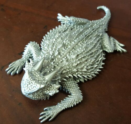 Horned Toad Horny Toad Horned Lizard 4 inch pewter figurine with Bumper Sticker
