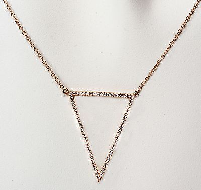 Diamond Triangle Necklace -  14k Yellow or Rose Diamond Triangle necklace , Dia. 0.21cts.