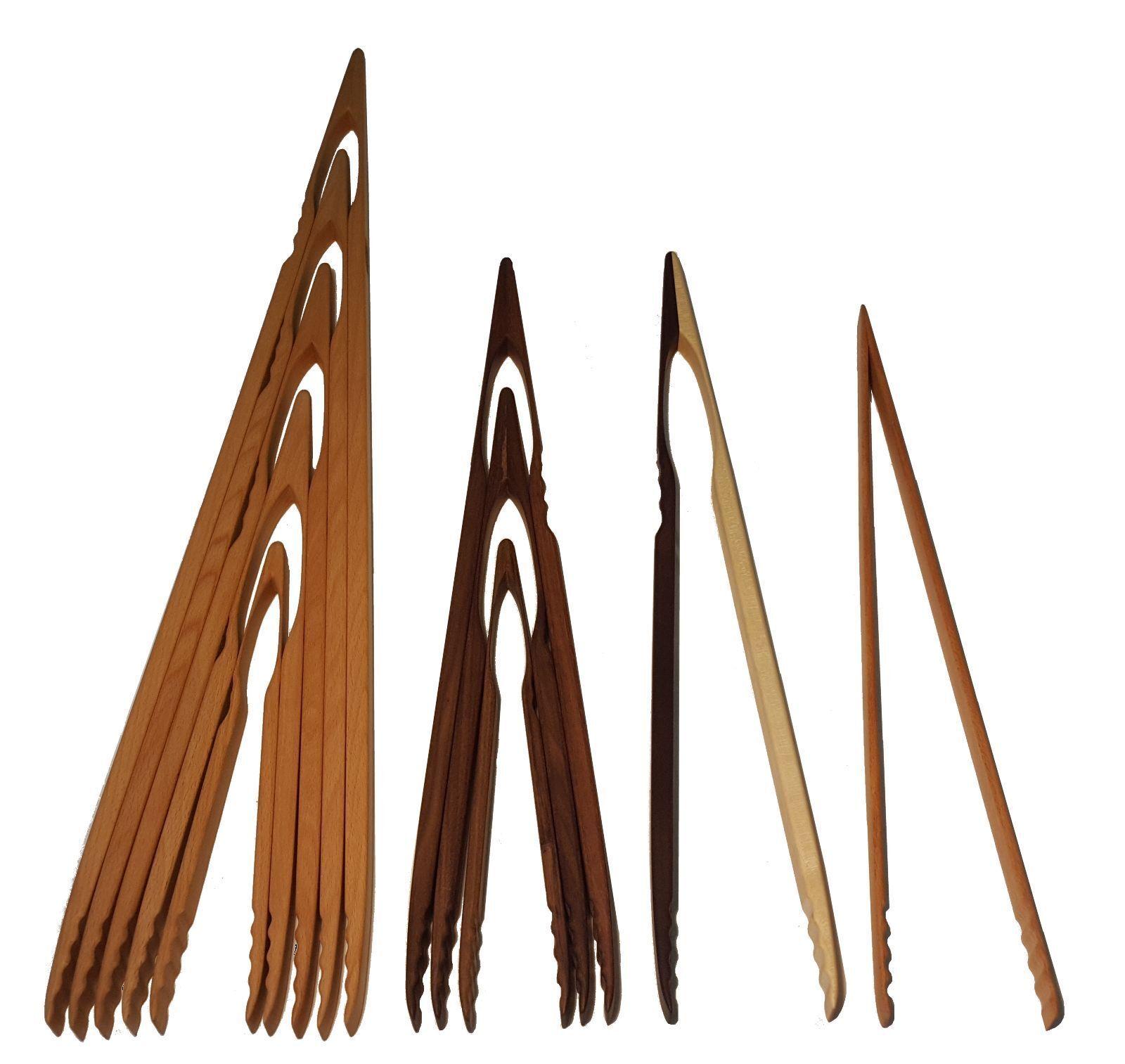 Profi Grillzange aus Holz Küchenzange Buche oder Nussbaum BBQ Zange Holzzange