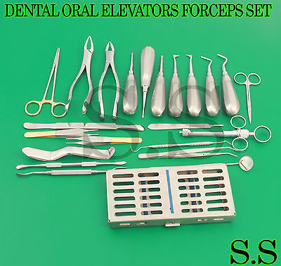 63 Pc Oral Dental Surgery Extracting Elevators Forceps Instrument Kit Set Dn-440