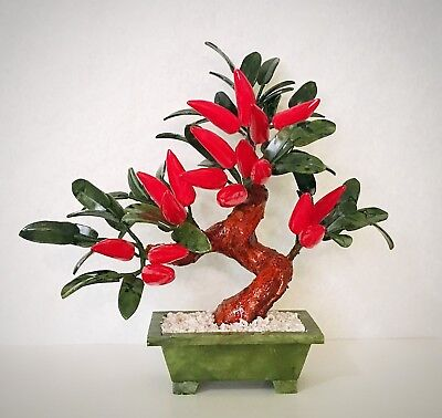 Used, handcrafted Jade and Glass Artificial Red Pepper Bonsai Tree Plant Basket  for sale  Shipping to Canada