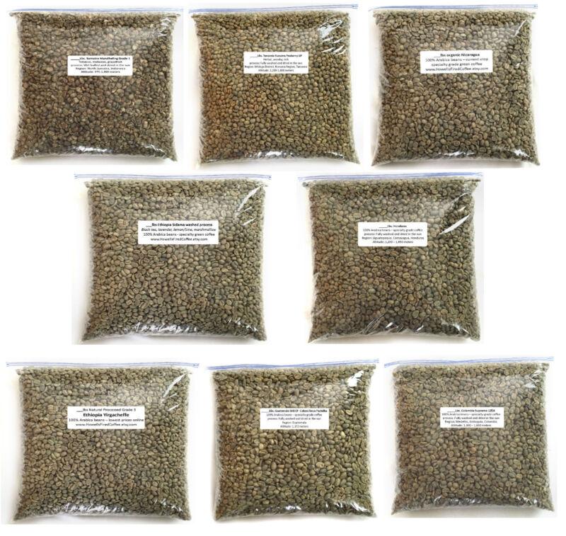 4 lbs Green Coffee Bean Sample Pack - 8 one-half pound coffee samples
