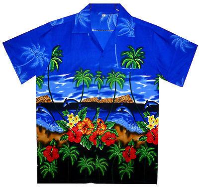 Funky Hawaiihemd Dolphin Hawaiian Shirt Fronttasche Dunkles Blau