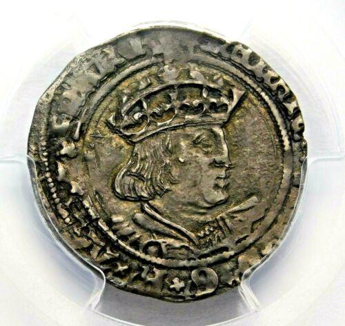 PGCS AU-50. TUDOR. Henry VIII. Stunning Groat. England. Silver Coin.