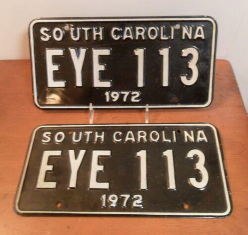 Matched Pair 1972 SOUTH CAROLINA License Plates, EYE 113, Black, White Text
