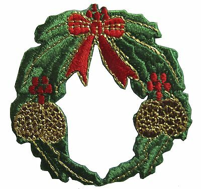 - #2956 Christmas Wreath w/Bowknot,Pine Cone Embroidery Iron On Applique Patch