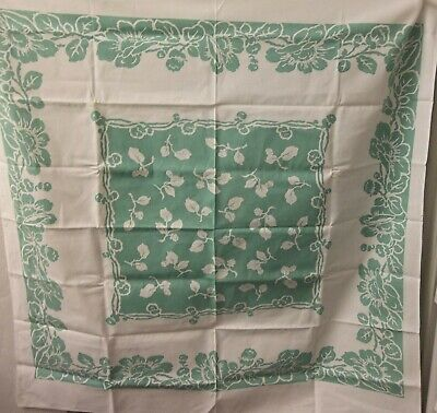 "Vintage 1940s 1950s Turquoise Hawaiian Flowers Floral 46"" Kitchen Tablecloth"