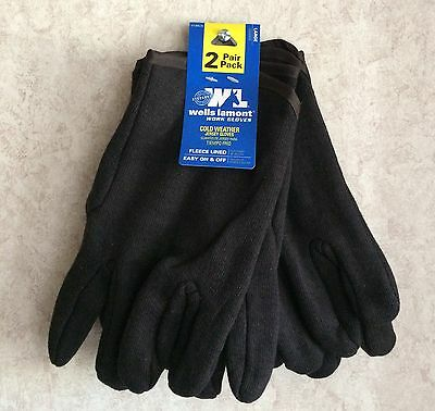 Wells Lamont Mens Gloves Fleece Lined Work 2 Pair Pack New Size L Jersey Black