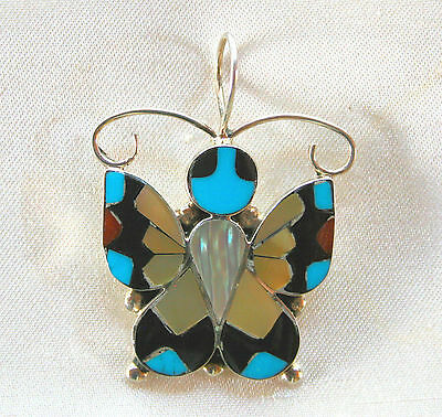 Zuni Sterling Silver Multi-Stone Turquoise Inlay Butterfly Charm~Pendant~Dishta